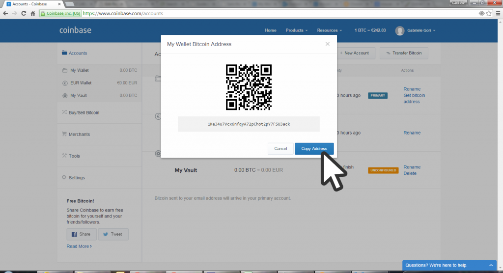 Copy wallet address