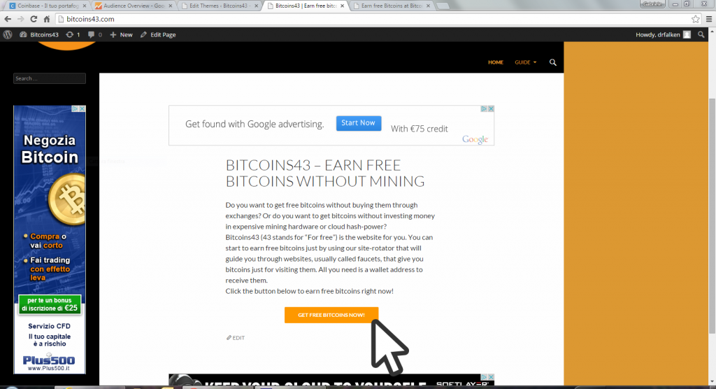 Bitcoins43 homepage